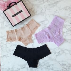3 PINK  VS Lace trim Cheekster Cheeky S